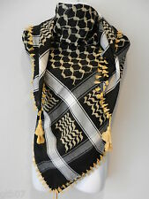 Gold Black Arab Shemagh Head Scarf Neck Wrap Authentic Cottton Shawl GD-BK-WT