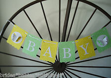 Bunting Banner Flags Garland BABY Embossed Uni Sex Yellow Green Baby Shower DIY