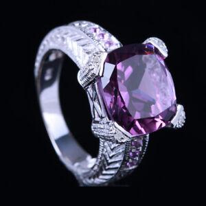 12x12mm Cushion Amethyst Real SI/H Diamonds Peridot Gemstone Ring 10k White Gold