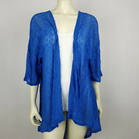Lularoe Womens Cardigan Blue Floral Lace Open Front Lindsay Size M