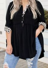 """Chic Soul """"No Greater Feeling Top� Black With Leopard Print Size 1X"""