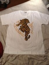 Men T Shirt Tiger Sak Yant Muay Thai Tattoo White Size XL