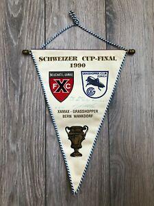 Pennant Signed Schweizer Cup-Final 1990 Xamax - Grasshopper Bern Wankdorf