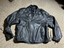 Vintage Black Leather Motorcycle Jacket Side Lace Sz 48 HEAVY MOTO PUNK ROCK ZIP