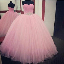 Pink tulle Quinceanera Formal Prom Party Ball Gown Wedding Dress stock size