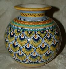 Lovely Sberna Deruta Italy MAJOLICA Roly Poly Vase Peacock Feathers