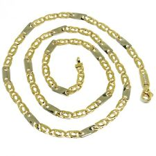 18K YELLOW WHITE GOLD CHAIN, EYE AND PLATE ALTERNATE LINK, 20 INCHES, ITALY MADE