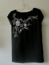 OASIS TOP BLOUSE Black KIMONO Oriental Bronze Embroidery Tie Back Sz 8 NEW