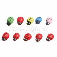 Miniature Wooden Ladybug Embellishment 100pcs Cute Ladybird Ornament Home Décor