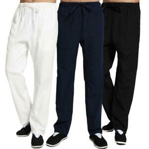 Mens Kung Fu Wingchun Pants Martial Arts Trousers Linen Casual Exercise Pants