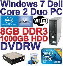 Windows 7 Dell HDMI Core 2 Duo 2x3.00GHz Gaming PC Computer - 8GB DDR3 - 1000GB