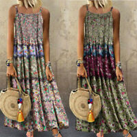 Women Vintage Size Maxi Long Plus Dress Sleeveless Bohemian Floral O-Neck Print
