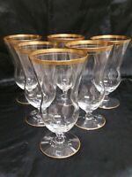 VINTAGE BARWARE GOLD RIM FOOTED GLASSES set of 6