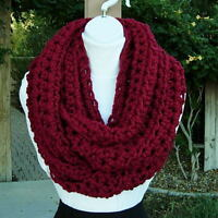 Large INFINITY SCARF LOOP COWL Solid Dark Red Wide Bulky Big Crochet Knit Winter