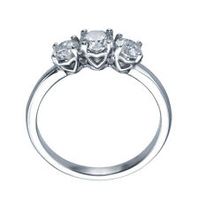 1.00 carat UNIQUE HEART TRILOGY 3-STONE DIAMOND ENGAGEMENT RING - 18k White Gold