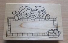 Darcie's ~ Y-3763 Christmas Winter Snowman Bear Hot Cocoa Frame Rubber Stamp ~K1