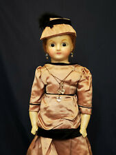 """23"""" Antique German Wax - Over - Composition Lady Doll W Glass Eyes"""
