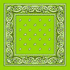 XL Verde Lima motivo Cachemira extragrande 68.6cmbig Bandana Bufanda Pañuelo de
