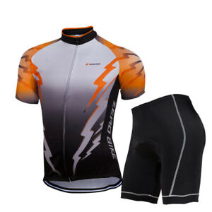 Men's Cycling Bike Short Sleeve Clothing Set Bicycle Wear Suit Jersey Pad Shorts