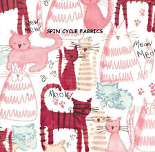 1YD MEOW MEOW Cartoon Cats Felines Pink Text Kitty CX5491 Michael Miller Fabric