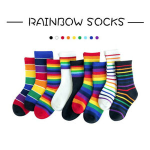 Baby Toddler Cotton Socks 1-3 Years Kids Boy Girls Soft Cute Rainbow Short Socks