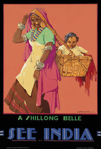 TA62 Vintage See India Shillong Belle Indian Travel Poster Print A2 A3