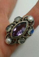 Sterling Silver Amethyst Moonstone Pearl Ring Nicky Butler 'NB 925 INDIA' Size 7
