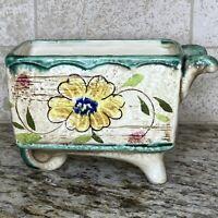 VINTAGE Relpo Wheelbarrow Planter Made In Japan #6379 Ceramic Flowers Rustic