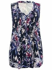 M&CO LADIES FLORAL PRINT SLEEVELESS BLOUSE NAVY NEW (ref 560) SALE