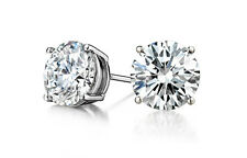 2 Carat Solitaire Diamond Stud Earrings Round Cut F/SI1 14K White Gold Enhanced