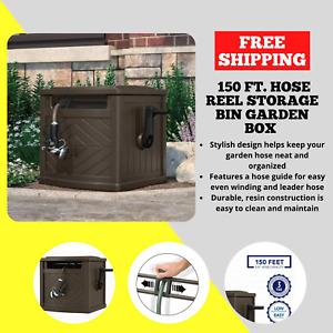 Suncast 150 ft. Hose Reel Storage Bin Garden Box Hideaway Outdoor Water Track
