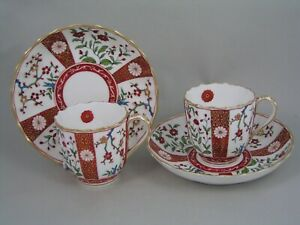 SET OF 10 EARLY ANTIQUE DERBY IMARI COFFEE CUPS AND SAUCERS, circa1890.