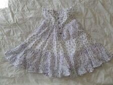 MATALAN Girls White/Purple Floral 100% Cotton Dress Size 9-12 Months