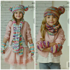 KNITTING PATTERN Girls Easy Knit Scarf, Cowl Mitts and Hat Chunky KC 4391