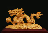 """5.5"""" Chinese Box-wood Hand Carving Zodiac Year Dragon Play Ball Statue Ornament"""