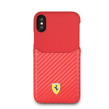 Ferrari PU Leather Silicone Case for iPhone X and iPhone XS Red Drop Protection