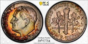 MS66 1963-D 10C Roosevelt Silver Dime, PCGS Secure- Rainbow Album Toned