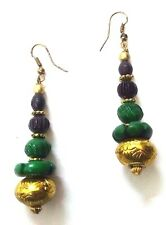 Handmade Painted Wooden Wood Earrings Jhumki Ethnic Chic Boho Drop Long EA298