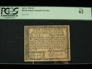 US Colonial/State Currency - $3 - July 2, 1780 ** RI-284 ** (CC-254)