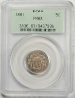 1881 5C Shield Nickel Proof PCGS PR 63 Low Mintage Key Date OGH Old Holder