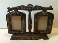 """Vintage Wood Tone Double Swing Picture Frame, 12"""" x 10"""" High, 4"""" x 6"""" (Image)"""