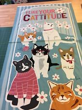 Studio E Cotton Fabric Quilting Panel Cattitude Cats 50cm Wide
