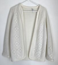 Vintage Zayre Stores Womens L Cardigan Sweater Ivory Open Front Long Sleeve