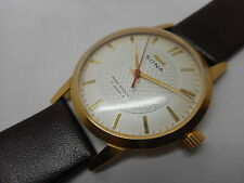 vintage hmt sona gold plated hand winding men's super slim india watch run D42
