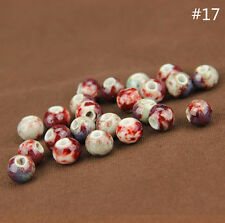 10-12mm Ceramic Porcelain Flower Loose Spacer Beads Jewelry Accessory 40 Pattern