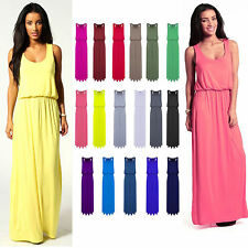 WOMEN'S JERSEY PUFFBALL RACER BACK VEST LONG TOPS LADIES TOGA BALLOON MAXI DRESS