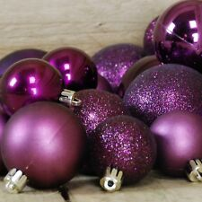 30 Purple Shatterproof Christmas Baubles In Shiny, Matte and Glitter