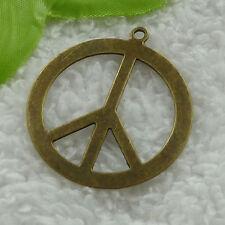 free ship 34 pcs bronze plated peace symbol pendant 44x39mm #3201