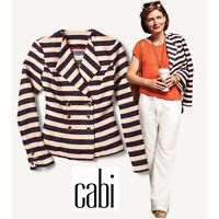 NEW CAbi Collection Cruise Jacket Style # 5094 Navy Stripe Knit Blazer Size 6