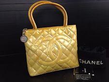 Auth Chanel Matelasse Patent Toilette Shoulder Tote Bag yellow 5k240180